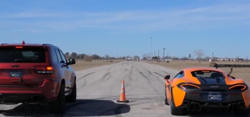 Nejrychlejší SUV světa proti lehkému supersportu aneb Jeep Trackhawk vs McLaren 570S. Jak tohle dopadne?