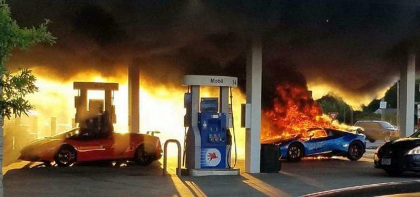 Shořelo mu Lamborghini na čerpací stanici jen kvůli hloupé chybě